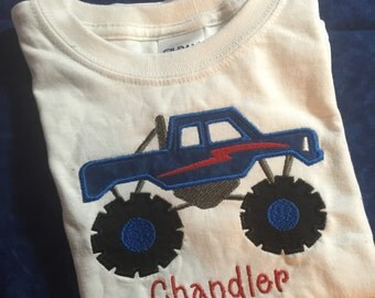 Monster Truck Monogrammed tee shirt