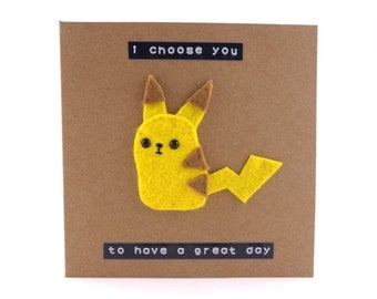 Cute felt Pikachu birthday card - Pokemon - I choose you