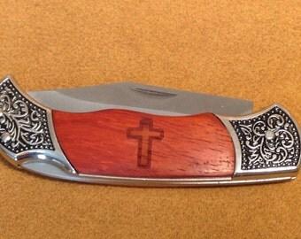 Laser Engraved Cross Rosewood Pocket Knife