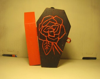 carved rose coffin box