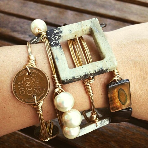 Natural Hue, Warm Tones, Bangles, Wire Wrap, Beads, Beautiful Large Stones, Wheat Pennies, Natural Stones, Bracelets