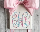 Monogrammed Hair Bow Holder with Lilly Pulitzer inspired vinyl monogram