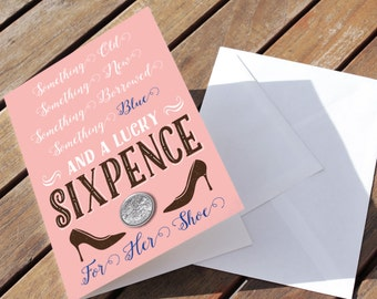 Lucky Sixpence Keepsake card - Pink