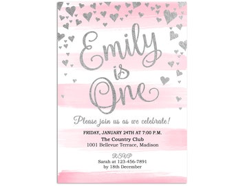 Pink Silver Birthday Party Invitation / 1st Birthday / First Bday Invites For Girl / Any Age / Watercolor Stripes / Digital Printable Invite