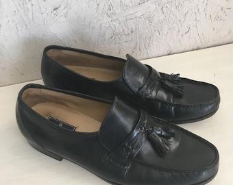 Vintage Men's Black Leather Tassel Loafers by Bostonian Stockbridge Size 11 M FREE SHIPPING