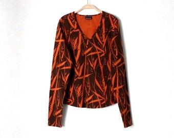 MARIMEKKO Floral Print Shirt Orange Brown Cotton Shirt Size L