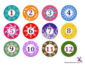 Use as a template to print out advent calendar numbers