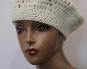 Vintage White Off White Winter White Hand Crochet Beret Hat Cap Beanie Pom Pom