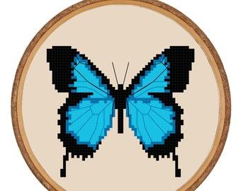 Cross-stitch PDF Pattern Instant Download - Entomology Blue Swallowtail Butterfly