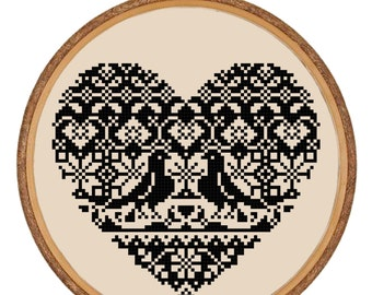 Cross-stitch PDF Pattern Instant Download - Black Lace Heart