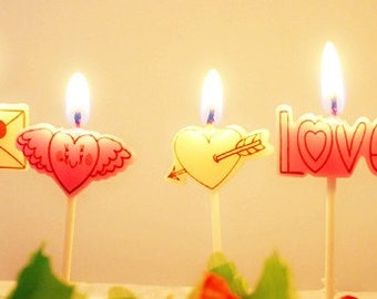 Cute Love Letter Candles 5pcs | Baby Children Birthday Party|Anniversay Engagement Celebration|Cake Toppers Decoration|Boyfriend Girlfriend