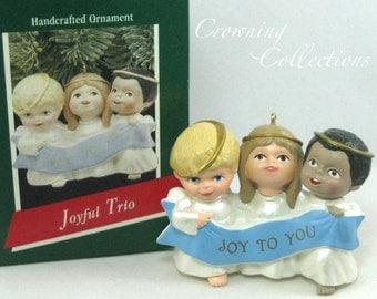 1989 Hallmark Joyful Trio Angel Keepsake Ornament Joy to You Singing Choir World Children Kids Angels