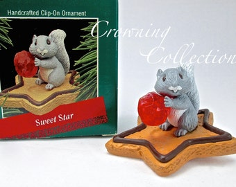 1988 Hallmark Sweet Star Keepsake Ornament Squirrel with Cookie Clip-On Vintage
