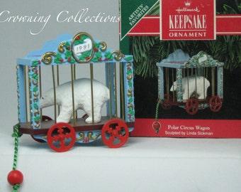 1991 Hallmark Polar Circus Keepsake Ornament Polar Bear Vintage Pull Style Toy Christmas