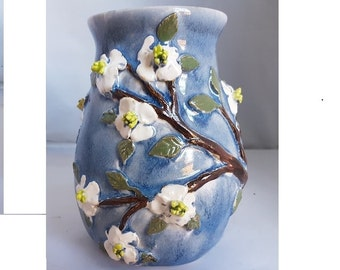 Ceramic dogwood flowers blue and white vase unique hand made