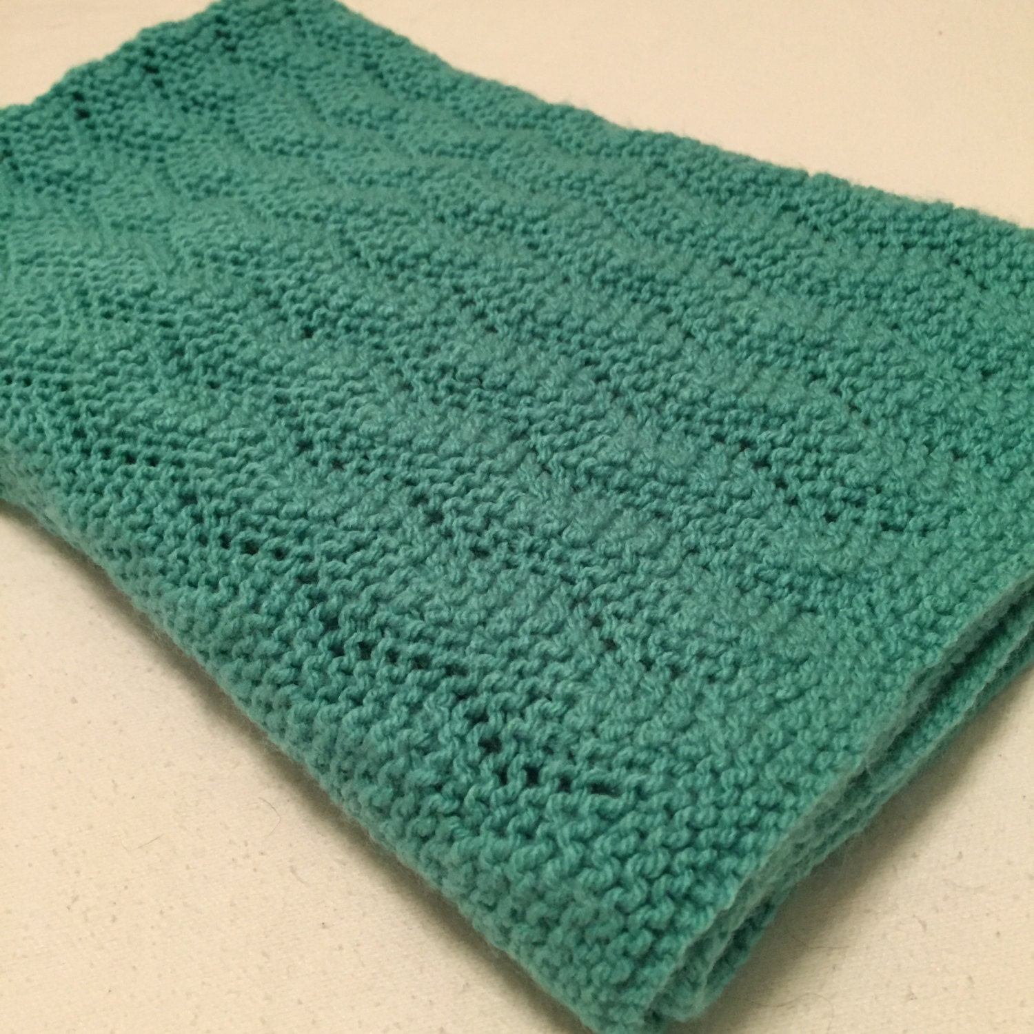 Hand Knitting Blankets : Hand knit dark turquoise baby blanket easy to wash and dry