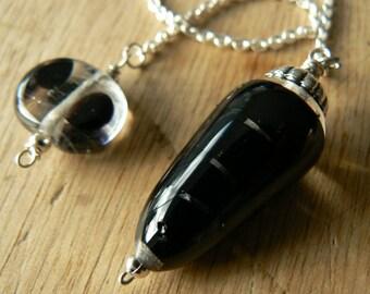 Black transparent swirl pendulum . divination-hand made-Glass pendulum - unique piece - pendule divinatoire