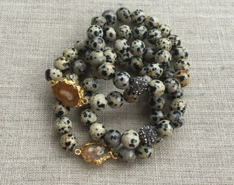 DalmationJasper Beaded Stack Bracelets
