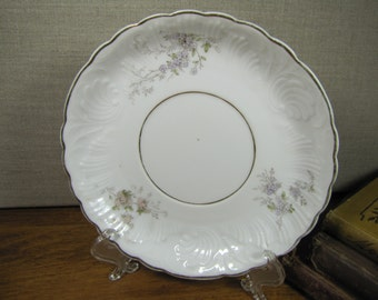 R and G Small Plate With Pale Purple and Pink Flowerrs - Gold Accents - Made in Germany