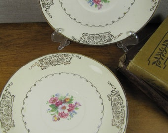 Vintage Paden City Pottery Saucers  - Gold Filigree Trim and Pink Floral - Set of Two (2)