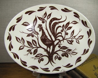 Vintage Dura Print by Homer Laughlin Folk Art Rooster Serving Platter - Brown and White