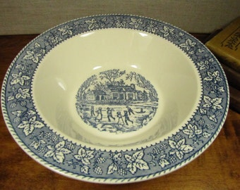 Blue and White Transferware - Serving Bowl - Vegetable Bowl - Skaters on Pond - Leaf and Berry Rim