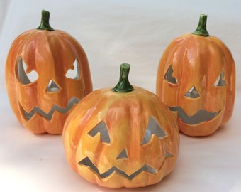 Ceramic Halloween Pumpkin Lantern
