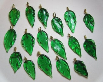 Lot of 10 Green Leaves with Brass Loops- 25mm to 30mm in length- Hand crafted glass charms from India