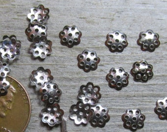 Nickel Toned 6mm Filigree Style Lacy Little Bead Caps- Lightweight Stamped Metal (Iron based)-  Lots of 100 or 500