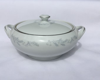 Royalton China Company E G 3301 Footed Soup Tureen with Lid Translucent Porcelain Blue & Taupe Leaves On White Background, Fine China, Japan
