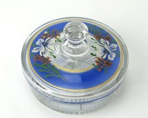 Vintage Candy Dish - divided, lidded, hand painted floral design