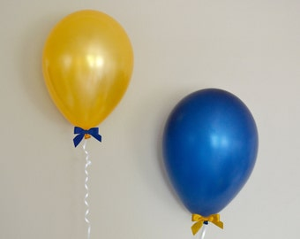 "11"" Navy Blue & Gold Balloon + Bow Set - 6 Pack // Graduation Party Decor // Birthday and Wedding Balloons"