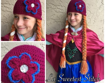 Princess Anna inspired  handmade crocheted hat