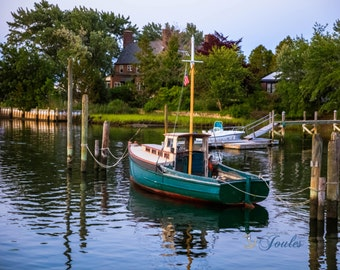Wickford Cove ~ Rhode Island, Boats, New England, Ocean, Coastal, Seascape, Art, Photograph, Artwork, Sunset