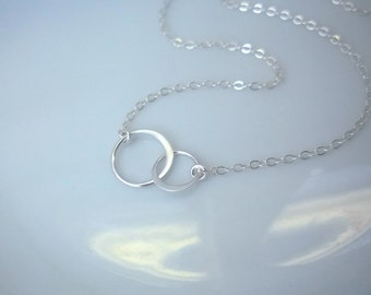 Linked circles necklace in sterling silver; two circle necklace; simple and elegant silver necklace; best friends necklace