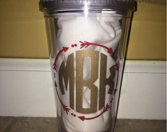 Personalized Vinyl Garnet and Gold Glitter FSU Themed Monogram Tumbler With Straw- Seminoles- Go Noles- Fear The Spear- Florida State- Arrow
