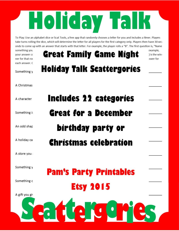 Christmas Scattergories Printable Game Christmas Family
