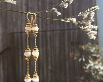 Triplet moonstone earrings