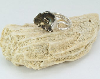 Organic form sterling silver/recycled silver ring. Oxidised.