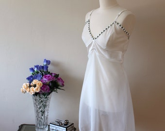 One of a kind ladies Gift, Silk, nightwear, honeymoon nightie, romantic weekend sheer Italian silk georgette chemise, UK size 12 nightie, si