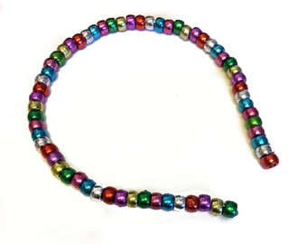 Rainbow Multicoloured Metallic Beaded Headband. Alice Band. Handmade Statement Hair Accessory.