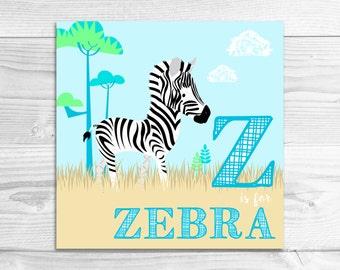 Z is for Zebra Wall Art Print // Glossy or Lustre Art Print // Baby Art, Nursery Art, Alphabet Art