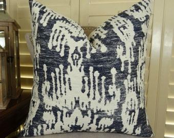 Navy Cream IKAT throw pillow cover - Designer IKAT pillow -  Navy Cream Ikat throw pillow - Navy Pillow - Navy ikat print pillow - 11386