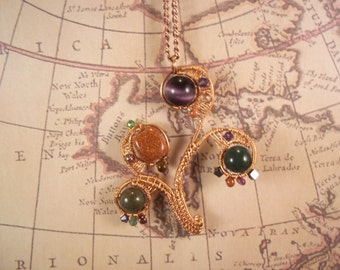 Wire Wrapped Tree of Life, Wire Wrapped Warm Copper lifts Amethyst, Jade and Goldstone beads to the sky