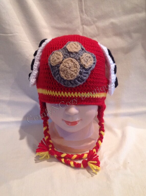 Crochet Paw Patrol Marshall inspired hat