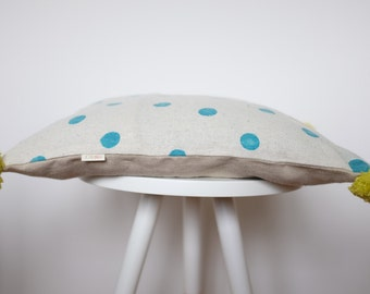 Hemp Pillow With Handprinted Pattern, FREE SHIPPING, Bohemian Hemp Cushion, Handprinted Pillow Cover, Pompom Pillow with Dots