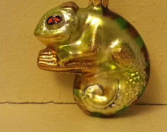 Blown Glass Chameleon Reptile Christmas Tree Ornament Decoration or Bauble