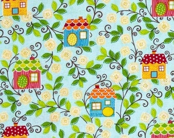 ON SALE!  Birdhouses on Blue by Benartex