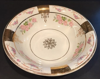 Vintage C.P.Co. Floral Ceramic Bowl with Gold  Accents  (FREE SHIPPING)