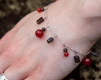 Sterling silver bracelet with carnelian and smoky quartz semi precious gemstone charm beads, orange red brown bracelet, healing bracelet